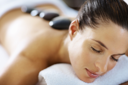 Closeup of relaxed woman receiving spa treatment